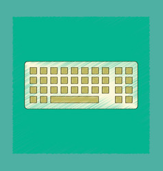 Flat shading style icon computer keyboard vector
