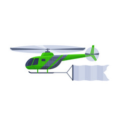 Flying helicopter with blank horizontal banner vector