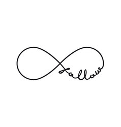 follow - infinity symbol repetition and unlimited vector image
