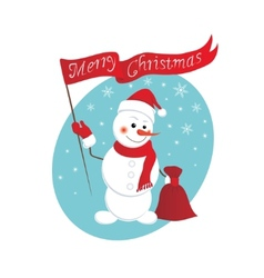 funny snowman with a bag of gifts vector image