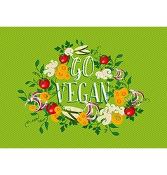 Go Vegan food with vegetable elements vector image