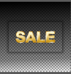 golden sale letters with shadow frame vector image