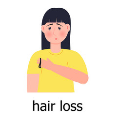 Hair loss icon unhappy girl loses her vector