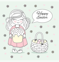 happy easter great religious holy holiday cartoon vector image