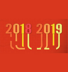 happy new year 2019 with shodow of cloud on red vector image