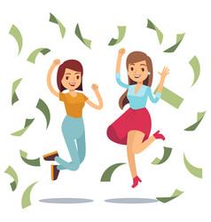 Happy successful housewifes in money rain happy vector