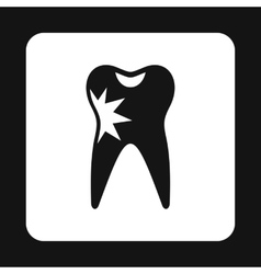 Human tooth with caries icon simple style vector