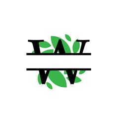 Initial w green leaf monogram split letter vector