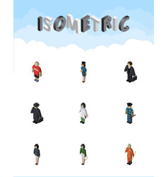 Isometric person set of guy policewoman vector