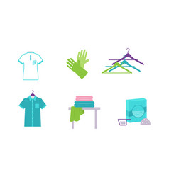 laundry elements set equipment and facilities for vector image