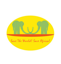 Logo with two striped elephants in front sun vector