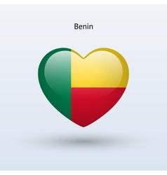 Love Benin symbol Heart flag icon vector image