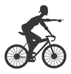 Man riding bike silhouette icon vector