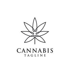 minimalist hemp cannabis marijuana logo icon vector image