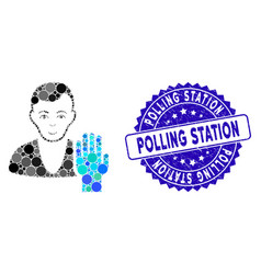 Mosaic elector icon with scratched polling station vector