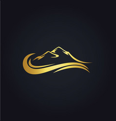Mountain water abstract gold logo vector