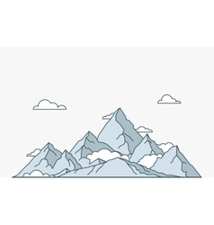 Nature and travel flat linear style mountain vector image vector image