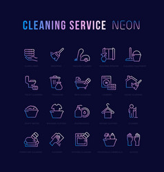 Neon linear icons cleaning service vector