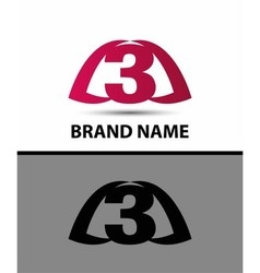 Number logo design Logo 3 template vector