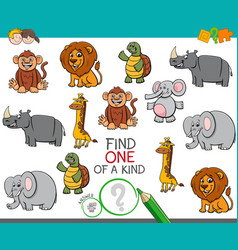 one a kind game with cartoon animals vector image