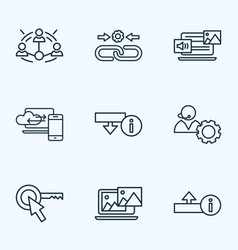optimization icons line style set with mixed vector image