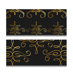 ornate golden decorative luxury banner dark vector image