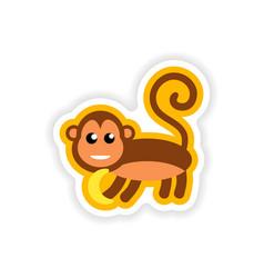 Paper sticker on white background monkey vector