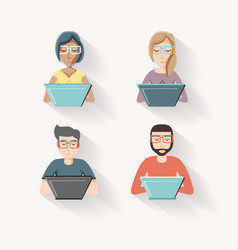 people with laptop social media icons vector image