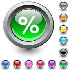 Percent round button vector image