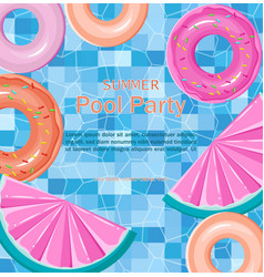 Pool floating toys summer card background vector