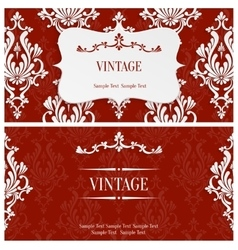 Red 3d Vintage Invitation Template with vector