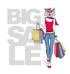 retro hipster animal girl owl big sale hipster vector image