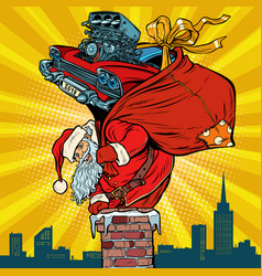 retro racing car santa claus with gifts climbs vector image