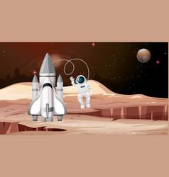 Rocket and astronaut mars scene vector