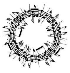 Round background music notes vector