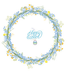 Round garland with spring flowers muscari and vector