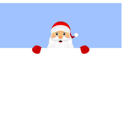 Santa peeping from behind vector