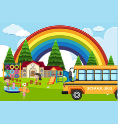 School scene with students and bus vector