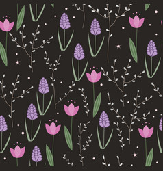 seamless floral pattern with doodle hyacinths vector image