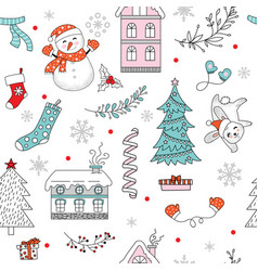 seamless pattern merry christmas snowman vector image