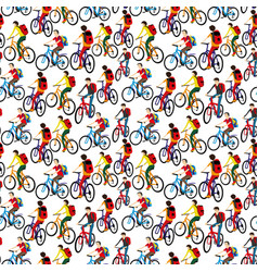 seamless pattern with cyclists vector image