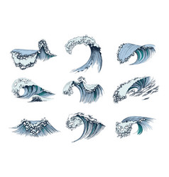 set hand drawn sea waves vector image