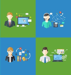 Set of business management jobs vector image