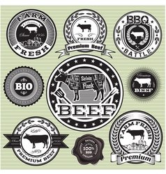 set of labels with cow and beef vector image