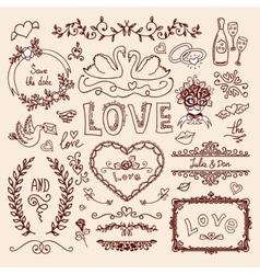 Set of wedding decorative elements vector image