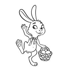 The easter bunny with a basket full of painted vector