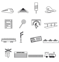 Train and railway simple outline icons eps10 vector