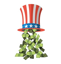 Uncle Sam hat and money American hat for vector image