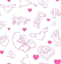 valentine day doodles pattern vector image