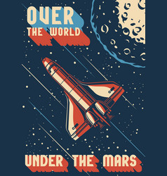 Vintage colorful mars exploration poster vector